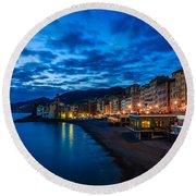 Sunset At Camogli In Liguria - Italy Round Beach Towel
