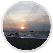 Sunset At Cape May Nj Round Beach Towel