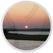 Sunset At Chincoteague Channel Round Beach Towel