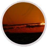 Sunset At Clallam Bay Round Beach Towel