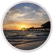 Sunset At Clearwater Round Beach Towel