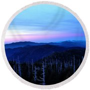Sunset At Clingman's Dome Round Beach Towel