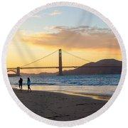 Sunset At Crissy Field With Golden Gate Bridge San Francisco Ca 5 Round Beach Towel
