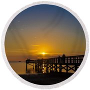 Sunset At Crystal Beach Pier Round Beach Towel