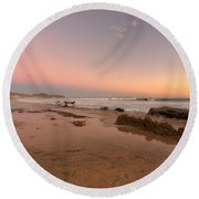 Sunset At Crystal Cove Hdr Round Beach Towel