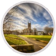 Sunset At Derby Cathedral Park Round Beach Towel