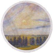 Sunset At Eragny, 1890 Round Beach Towel