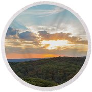 Sunset At Garden Of The Gods Round Beach Towel
