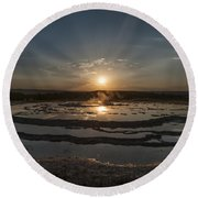 Sunset At Great Fountain Geyser - Yellowstone Round Beach Towel