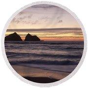 Sunset At Holywell Bay Round Beach Towel