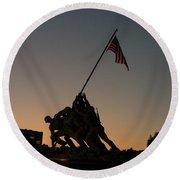 Sunset At Iwo Jima  Round Beach Towel