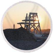 Sunset At Jones Beach Round Beach Towel