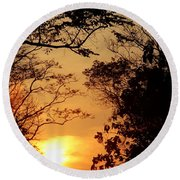 Sunset At Jungle Round Beach Towel