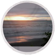 Sunset At Kalaloch Round Beach Towel