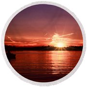 Sunset At Lake Of The Woods Round Beach Towel