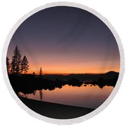 Sunset At Lake Tahoe Round Beach Towel