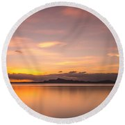 Sunset At Lake Titicaca - Peru Round Beach Towel