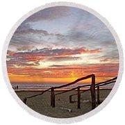 Sunset At Las Glorias Over Sea Of Cortez-sinaloa Round Beach Towel
