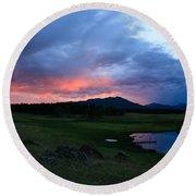 Sunset At Locke's Pond - Big Horn Mountains - Buffalo Wyoming Round Beach Towel