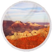 Sunset At Mather Point Grand Canyon Round Beach Towel