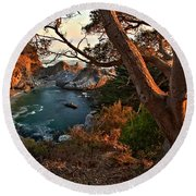 Sunset At Mcway Falls Round Beach Towel