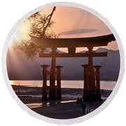 Sunset At Miyajima Round Beach Towel