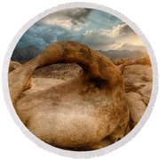 Sunset At Mobius Arch Round Beach Towel