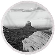 Sunset At Monument Valley, Monument Round Beach Towel
