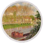 Sunset At Moret Sur Loing Round Beach Towel