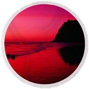 Sunset At Neskowin Beach- Proposal Rock Round Beach Towel