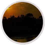 Sunset At Oyster Cove II Round Beach Towel