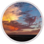 Sunset At Pacific City Round Beach Towel