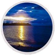 Sunset At Parksville Beach Round Beach Towel