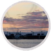 Sunset At Port Angeles Round Beach Towel