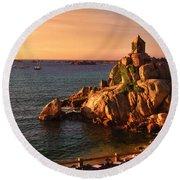 Sunset At Port Blanc - Cote De Granit Rose Round Beach Towel