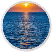 Sunset At Sea With Multiple Color Prizm Round Beach Towel
