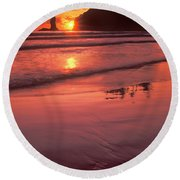 Sunset At Second Beach Olympic National Park Round Beach Towel