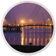 Sunset At Southampton Docks Round Beach Towel