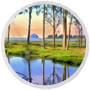 Sunset At Sweet Springs Round Beach Towel