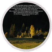 Sunset At The Cabin With Scripture Round Beach Towel