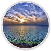 Sunset At The Cliff Beach Round Beach Towel by Ron Shoshani