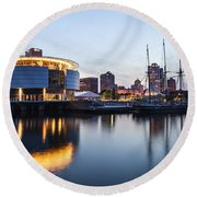 Sunset At The Dock Round Beach Towel