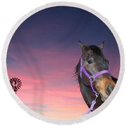 Sunset At The Farm Round Beach Towel