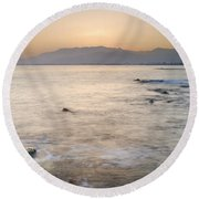 Sunset At The Hot Sea Round Beach Towel