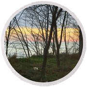 Sunset At The Island Round Beach Towel