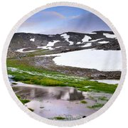 Sunset At The Lake At 3000 M. Hight Round Beach Towel