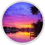 Sunset At The Pier Round Beach Towel