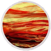 Sunset At The Red River Abstract Round Beach Towel