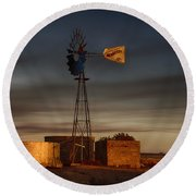 Sunset At The Well Round Beach Towel