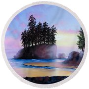 Sunset At Tongue Point Round Beach Towel